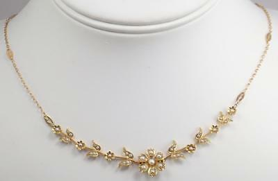 Pretty Antique Edwardian Victorian 15K Gold Seed Pearl Floral Flowers Necklace