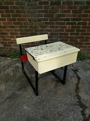 Vintage Wooden-metal School Desk  with folding bench Chair. Delivery