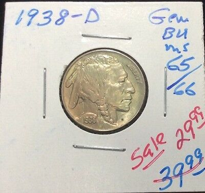 1938-D Indian Head Buffalo Nickel In Gem BU++ Condition