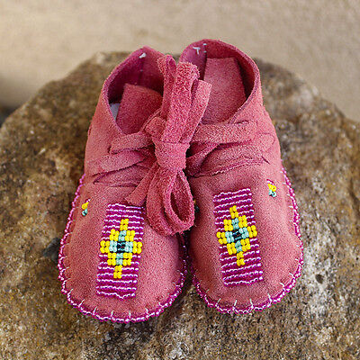 CHEYENNE-PINK LEATHER  BABY MOCCASINS by JANET WHITEMAN-NATIVE AMERICAN BEADWORK