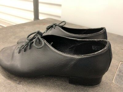 Leo Giordano Womens Black Leather Jazz Tap Shoes Size 7.5W