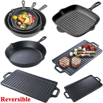 New Premium Non-stick Cast Iron Griddle Pan Frying Cooking Griddle BBQ Hob Use