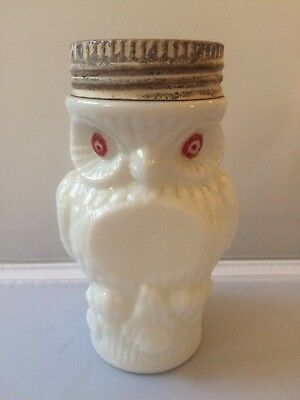 Antique Milk Glass Owl Mustard Jar w Lid Red Eyes Figural Figurine Kitchenware