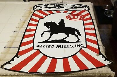 ALLIED MILLS PORCELAIN Sign: 40's Sign COLLECTOR'S Piece