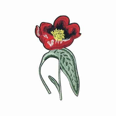 Red Flower (Iron On) Embroidery Applique Patch Sew Iron Badge