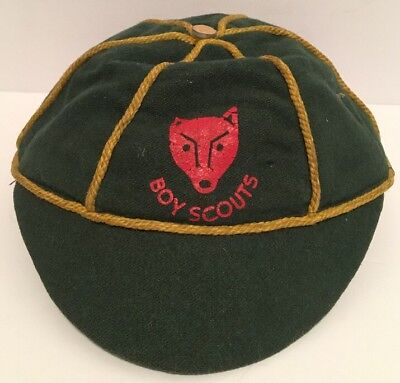 Vintage Canadian Boy Scouts Wolf Cub Green Gold Beanie Hat Cap RARE