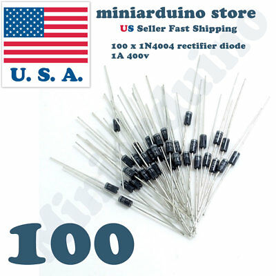 100x (100pcs) 1N4004 Rectifier Diode 1A 400V IN4004 US Seller Fast Shipping