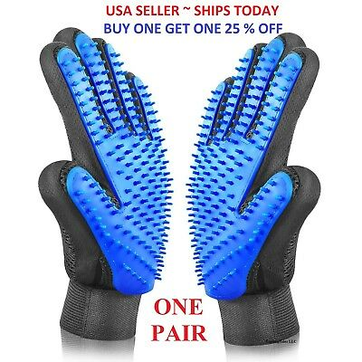 Pet Hair Remover Glove Brush Dog Cat Grooming Massage Soft Bath Deshedding Comb