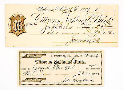 2 different styles old 1870's-1890's U.S.A. Ohio bank checks used