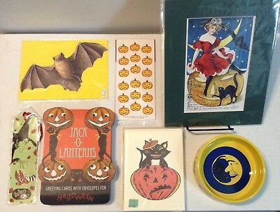 LOT of VINTAGE HALLOWEEN - notecard sets, black cat bowl, wicked witch bookmark