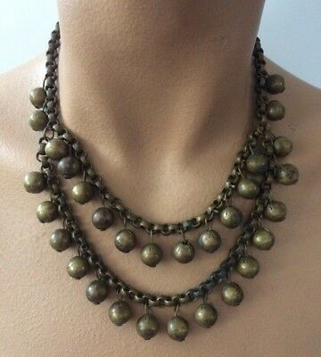 Gorgeous Antique Victorian 1800`s Loaded Balls Chain 2 strands Necklace Choker