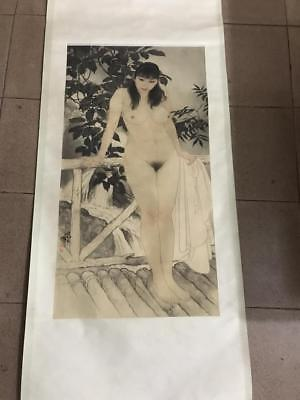"""Excellent Chinese 100% Hand Painting & Scroll"""" Beauty """" Painting by He JiaYing"""