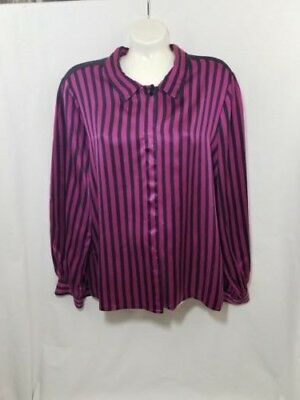 Vintage Silk Blouse Albert Nipon Sz 8 Womens Striped  Shirt Top Pink Black 80s