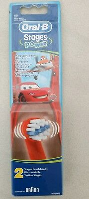 Oral-B Kids Disney Cars Stages Power Electric ToothBrush Refills Heads x 2 AUS