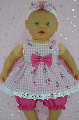 "Play n Wear Doll Clothes For 13""Little Baby Born/Mommy DRESS~BLOOMERS~HEADBAND"