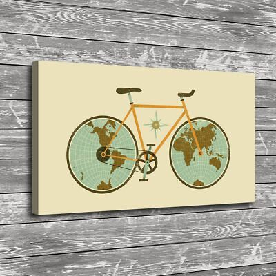 Bicycle Minimalist World Map HD Print on Canvas Home Decor Room Wall Art Picture