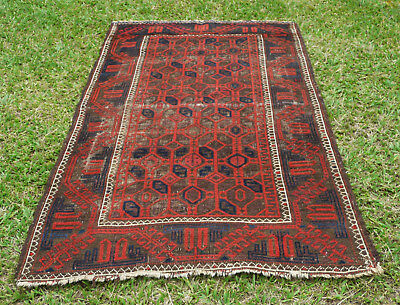 SUPERB ANTIQUE BALUCH TRIBAL PILE RUG EASTERN TURKESTAN Circa 1890