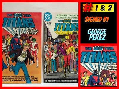 THE NEW TITANS #1 & 2 Drug Awareness Specials BOTH SIGNED by GEORGE PEREZ NM!!!
