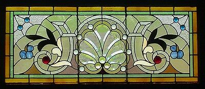 Antique American Stained, Jeweled and Beveled Glass Window
