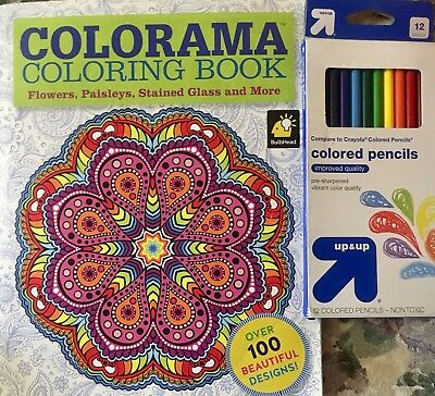COLORAMA Adult Coloring Book Flowers Paisleys Stained Glass W 12 Colored Pencil