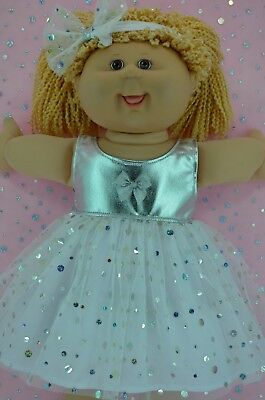 """PlaynWear Doll Clothes For 16"""" Cabbage Patch WHITE/SILVER SEQUIN DRESS~HEADBAND"""