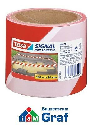 Tesa SIGNAL BARRIER TAPE RED/White, Not Adhesive, PE Film 100 M x 80 mm /#870738