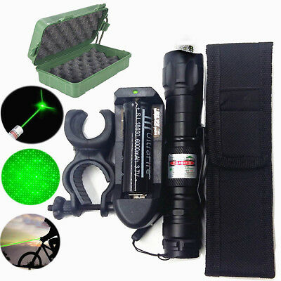 Green 5mW 532nm Laser Pointers Pen Lazer Beam Adjust 18650 Battery Charger US