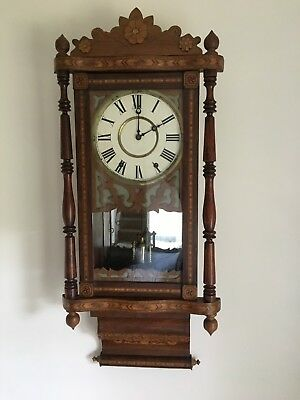 Antique American Ansonia Mahogany Inlaid Case Good Working Striking Wall Clock