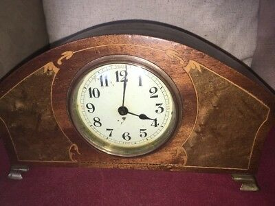 Lovely Art Nouveau/Edwardian Mantle Clock French Circa 1900 Inlaid Cloud Detail