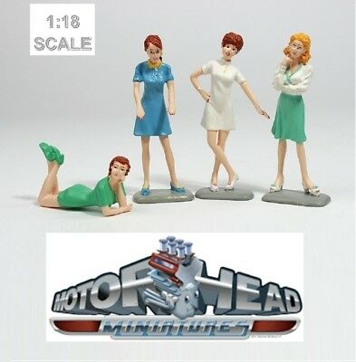 1:18 Motorhead Miniatures Set of 4 Sixties Sweeties Female Figurines #851