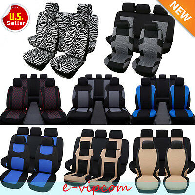 Car Seat Covers Black Blue Red Gray Polyester Cloth Front Rear Bench Full Set Vp