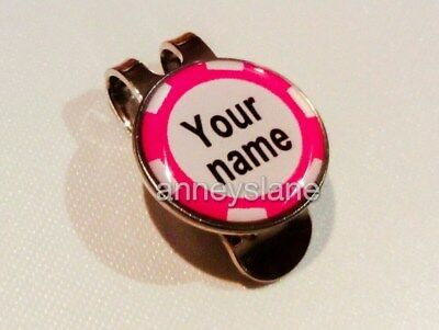 anneys-your OWN PERSONALISED*Pink - poker chip style golf ball marker +HAT clip*