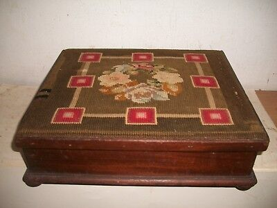 Rare Antique Victorian Floral Needlepoint Footstool Tin Foot Warmer P Moore & Co