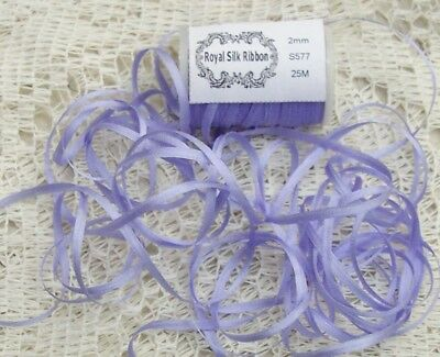 100% Silk Embroidery Ribbon 2Mm 25 Yard Spool Lavender/Blush Color