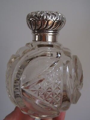 1903 Unusual Cut crystal and Sterling Silver 4 1/2in high perfume bottle