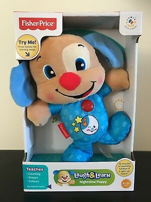 Fisher Price Laugh & Learn Nighttime Puppy Blue 6-36 months Lullabies Plush New