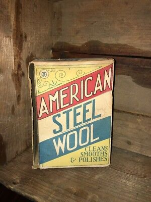 Vintage 1900s American Steel Wool Box - Rare Red White & Blue
