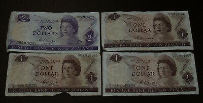 Four (4) 1967 Reserve Bank of New Zealand Notes - $2 and 3 $1 notes.