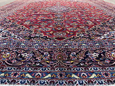 11x14 Persian Rug Hand Knotted Rugs Antique Wool Woven Oriental Red Kashan 10x14