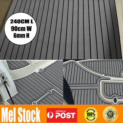 240cmx90cm Marine Flooring Faux Teak EVA Foam Boat Yacht Decking Sheet Dark GREY