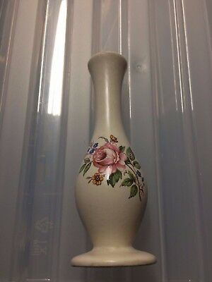 Vintage Beautiful Axe Vale Pottery of Devon Bud Vase with Rose Design
