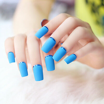24pcs Blue Long Full Cover Matte False Nails Acrylic Nail Art Finger Designers
