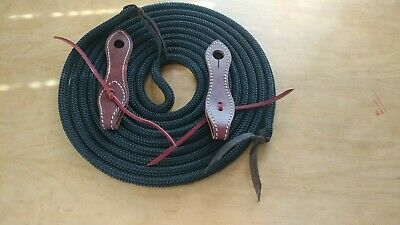 22' HORSEMAN'S MECATE REINS w/BRIDLE LEATHER SLOBBER STRAPS FOR PARELLI TRAINING
