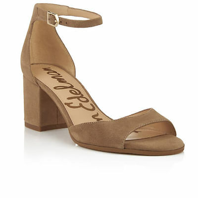 1d37acd41e2 New Sam Edelman Susie Suede Nude Taupe Sand Ankle Strap Block Heel Sandals  6.5