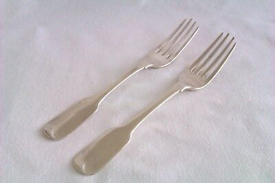 Extremely Rare Pair Of Solid Silver Georgian Irish Crested Dinner Forks 1816