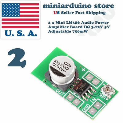 2pcs Mini LM386 DC 3-12V Micro Audio Power Amplifier Amp Board Module 750mW New