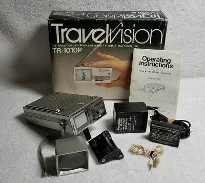 Panasonic TR-1010P Travelvision B&W TV Original Box TESTED FREE SHIPPING