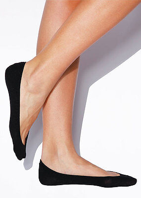 """2 Pairs Black Charnos """"Footsies""""  Luxury Satin For Ballerina Pumps/Court Shoes"""