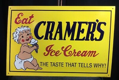 """Vintage Cramer's Ice Cream W/ Baby & Cone 16"""" X 11"""" Embossed Metal Dairy Sign"""