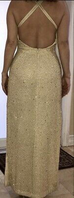 f8b22dfa129 Long Gold Sequin Dress - Sleeveless Backless Size Small New Year s Pageant